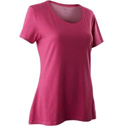 Camiseta Manga Corta Gym Pilates Domyos 500 Regular Mujer Rosa Oscuro Jaspeado