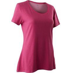 T-Shirt 500 regular Pilates Gym douce femme rose foncé chiné