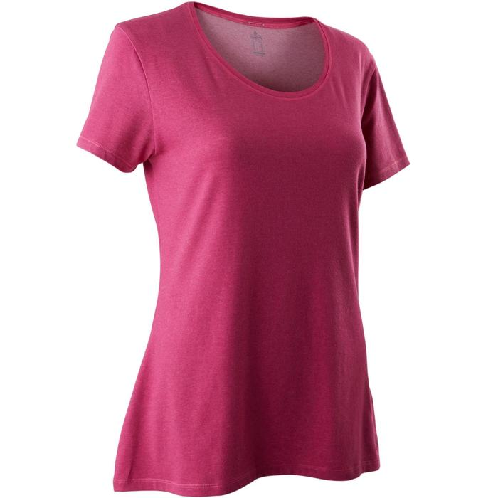 T-Shirt 500 regular Pilates Gym douce femme rose foncé chiné