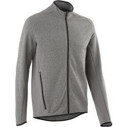 Men's Gym Jacket 500 - Mottled Light Grey