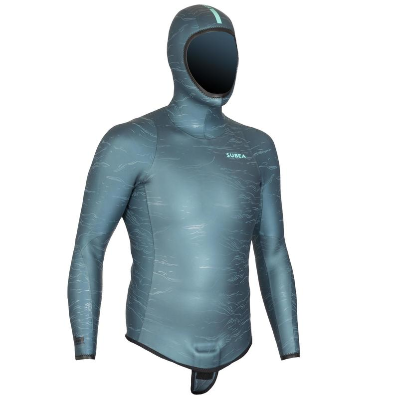 Chaqueta Traje Apnea Freediving FRD900 Adulto Neopreno Gris Estampado 3mm