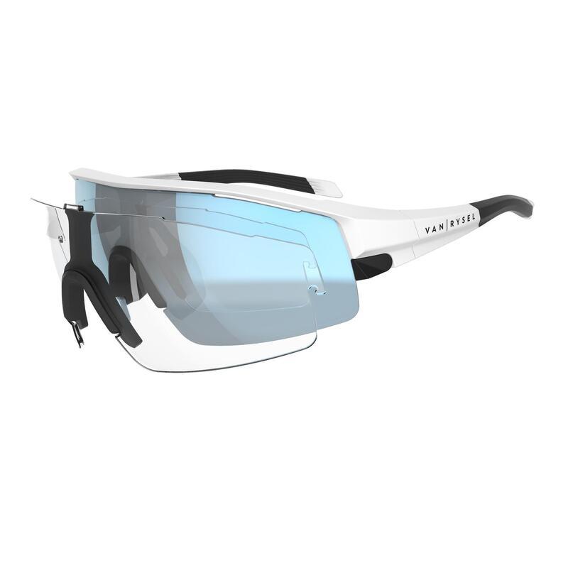 Gafas de ciclismo adulto VAN RYSEL ROADR 900 blanco AZUL