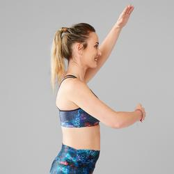 Brassière Fitness Danse bleue femme à bretelles croisées