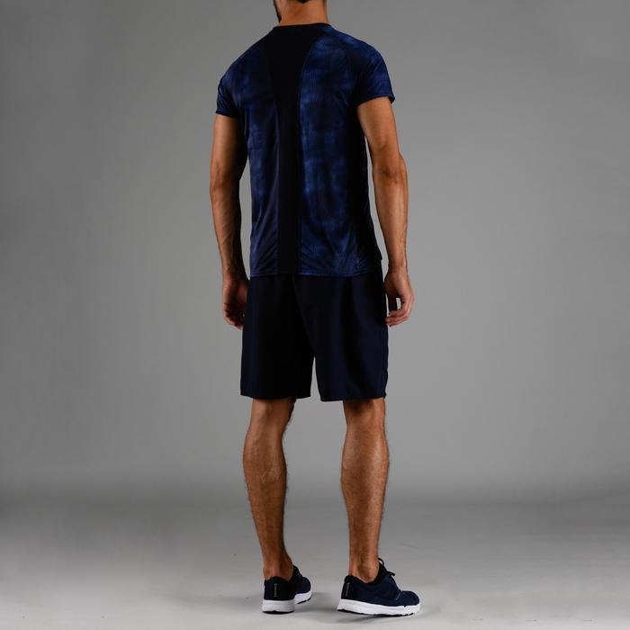 Camiseta de cardio fitness hombre FTS 120 azul jaspeado