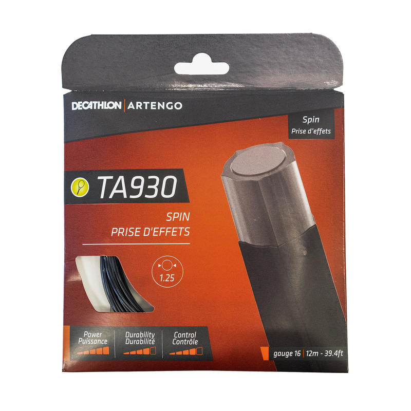 TA 930 Spin Monofilament Pentagonal 1.25 mm Gauge Tennis String - Black