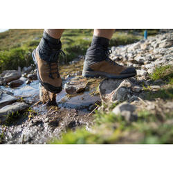 Leren trekkingschoenen met soepele zool heren Trek 100