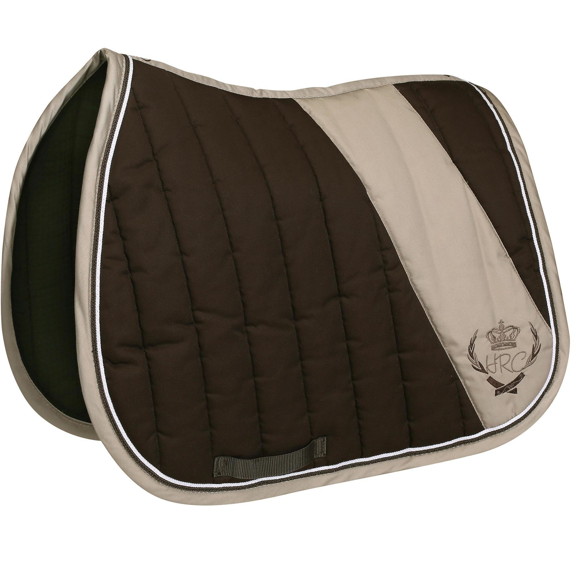 Tapis de selle quitation cheval jump marron beige fouganza - Decathlon equitation tapis ...