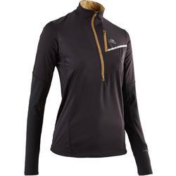 Camiseta Manga Larga Running Kalenji Softshell Trail Mujer Negro/Bronce