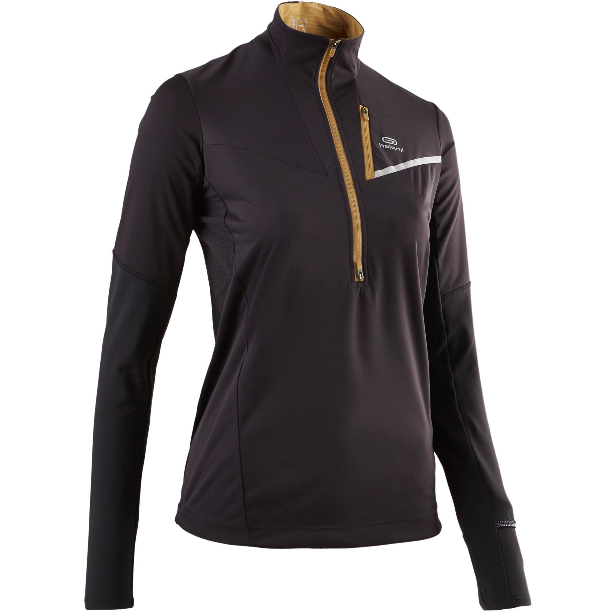 Kalenji Softshell jack met lange mouwen traillopen zwart brons dames
