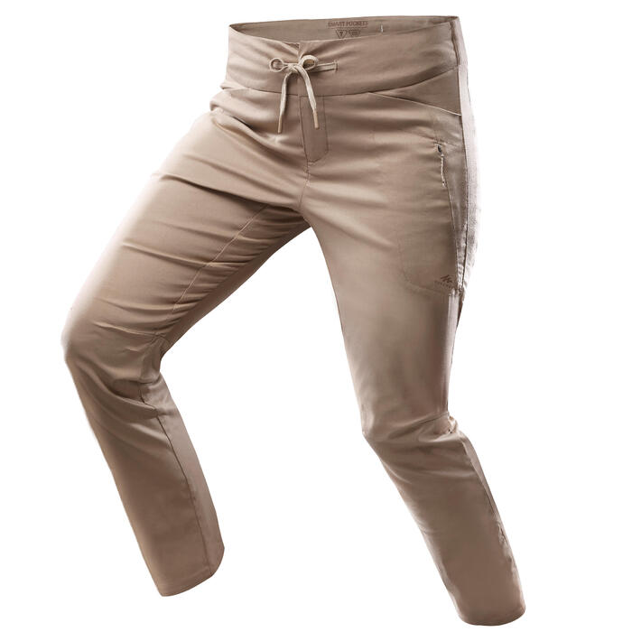 Lange wandelbroek NH500 regular beige dames