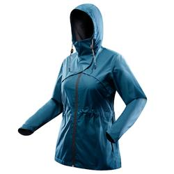 Chaqueta impermeable senderismo naturaleza NH500 azul turquesa mujer