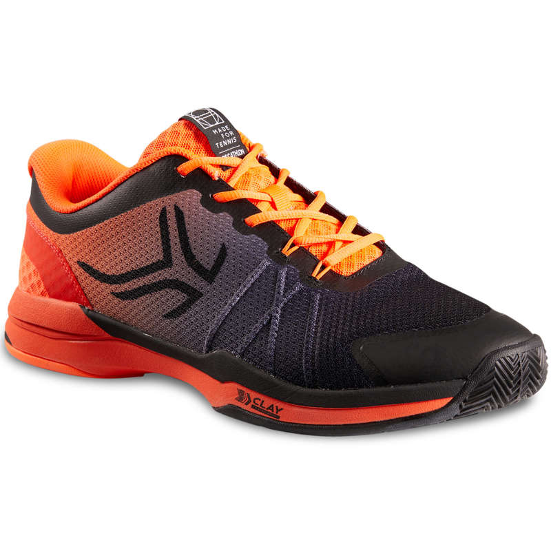 MEN CLAY COURT SHOES Tennis - TS590 - Black/Orange ARTENGO - Tennis Shoes