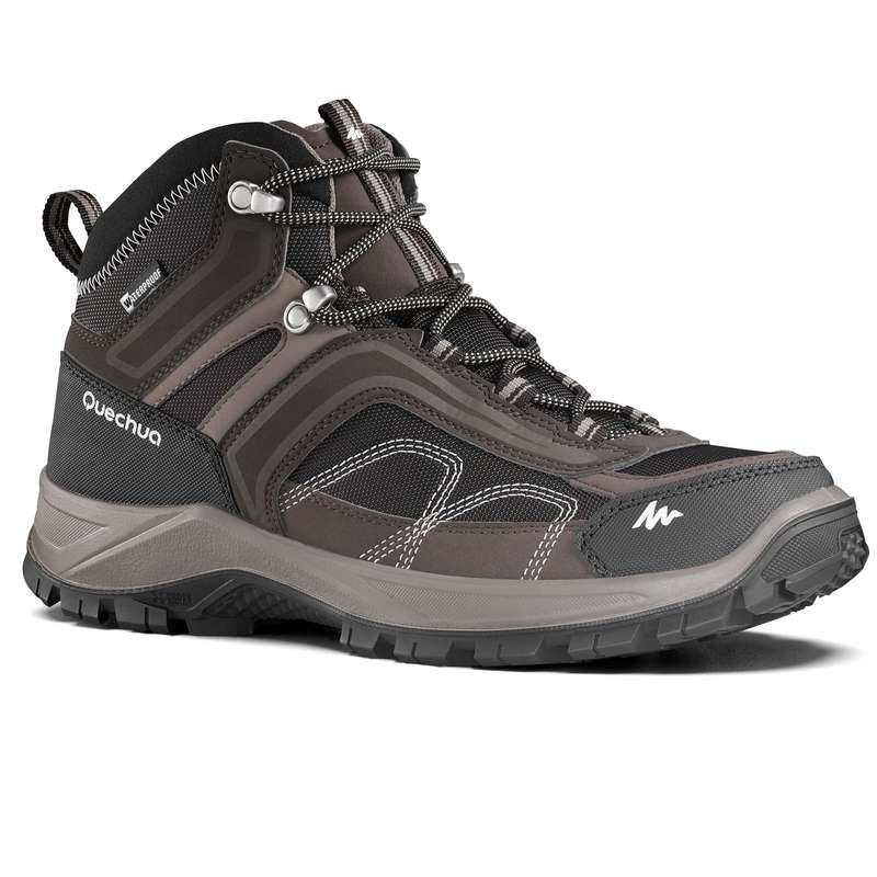MEN MOUNTAIN HIKING SHOES Hiking - MH100 Mid Mens Waterproof Walking Boots - Brown QUECHUA - Outdoor Shoes