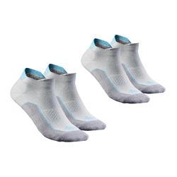 低筒自然徒步襪。Arpenaz 100 2 雙- 灰色