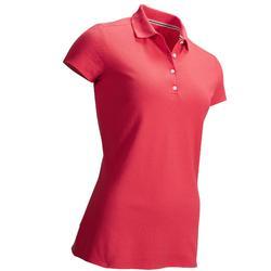 Golfpolo met korte mouwen voor dames zacht weer aardbeiroze