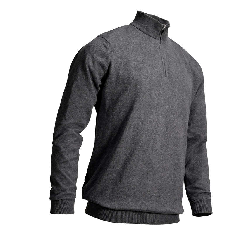 MENS MILD WEATHER GOLF CLOTHING Golf - M Windstopper Pullover Dk Grey INESIS - Golf Clothing