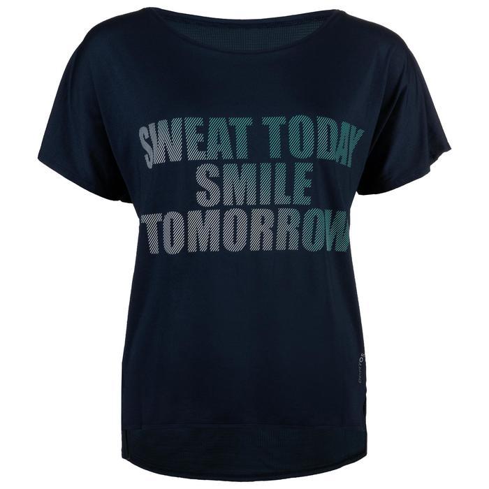 Fitness shirt 120 voor dames, marineblauw