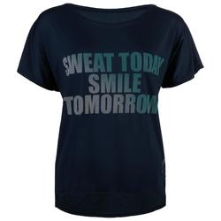 T-shirt cardio fitness femme bleu marine imprimé 120