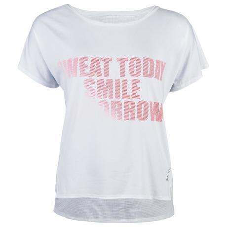 6a394a98a7e1c T-shirt cardio fitness femme blanc imprimé 120 | Domyos by Decathlon