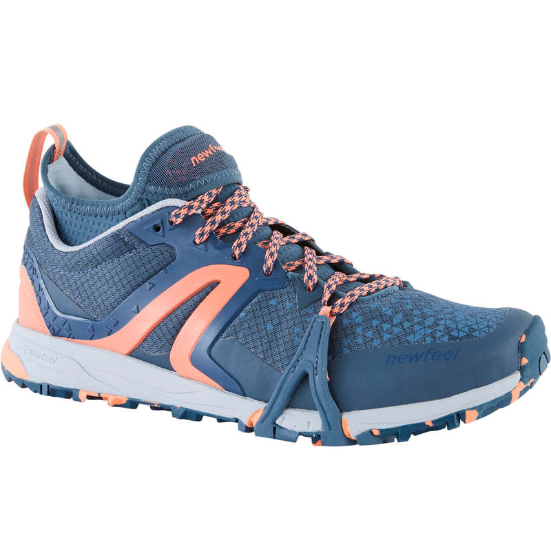 WOMEN NORDIC WALKING SHOES Power Walking - NW 900 Flex-H - Grey/Coral NEWFEEL - Walking Trainers