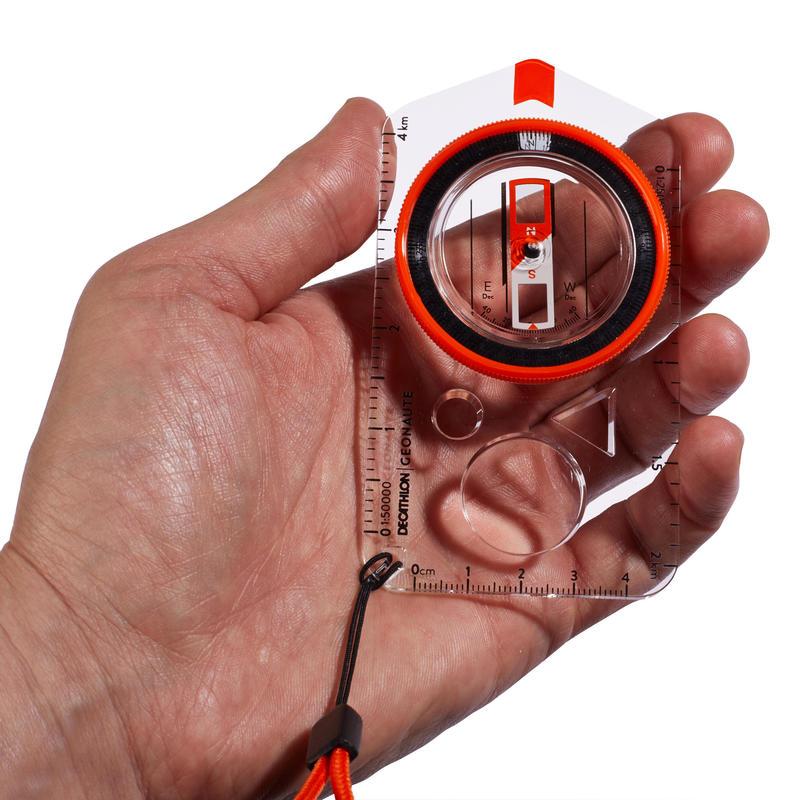 เข็มทิศไม้บรรทัดรุ่น Explorer 500 สำหรับการโอเรียนเทียริงหรือการเดินป่า (สีส้ม)