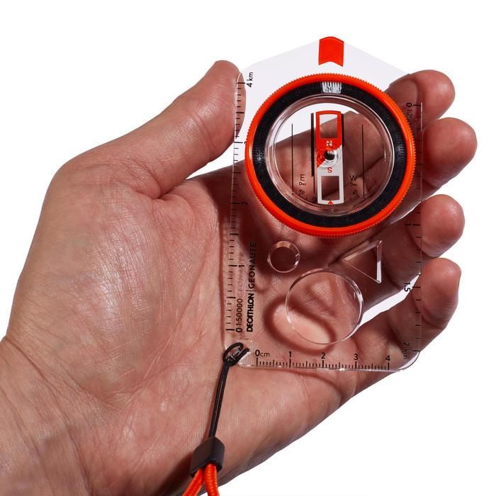 定向越野或健行用平板指北針EXPLORER 500 - 橘色