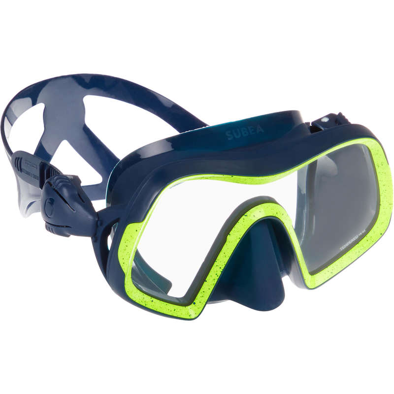 SCD MASKS & SNORKELS Scuba Diving - SCD500 mask mono Blue/Yellow SUBEA - Scuba Diving Equipment