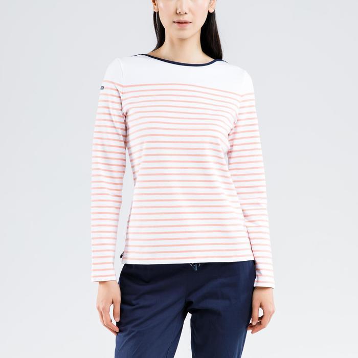 女款航海長袖T恤Sailing 100-白色及珊瑚紅配色