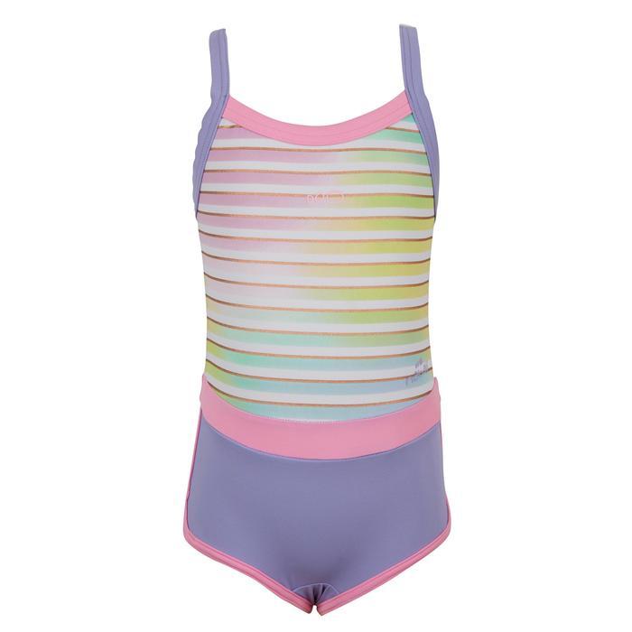 女童款單件式連身泳裝Debo - 條紋紫色