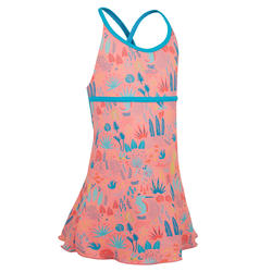 Girl swimming costume crossed back with skirt - Pink Blue