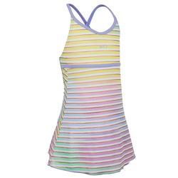 Riana Girls' One-Piece Dress Swimsuit - Stripes Purple