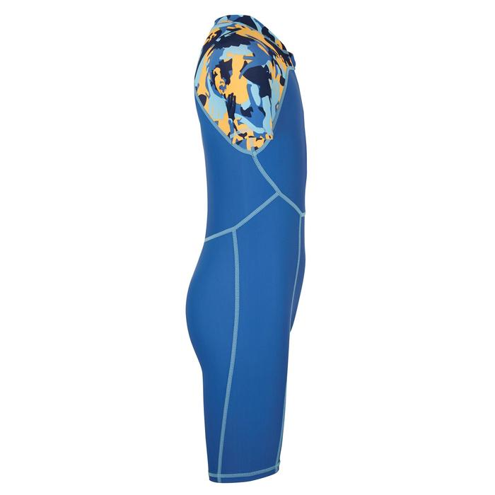嬰幼兒短袖連身泳裝藍色印花