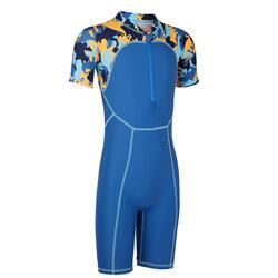 Blue print baby's short-sleeved shorty swimsuit
