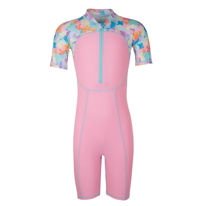 Pink print baby's short-sleeved shorty swimsuit
