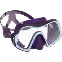 Masque de plongée sous marine SCD 500 mono-hublot verre jupe violet