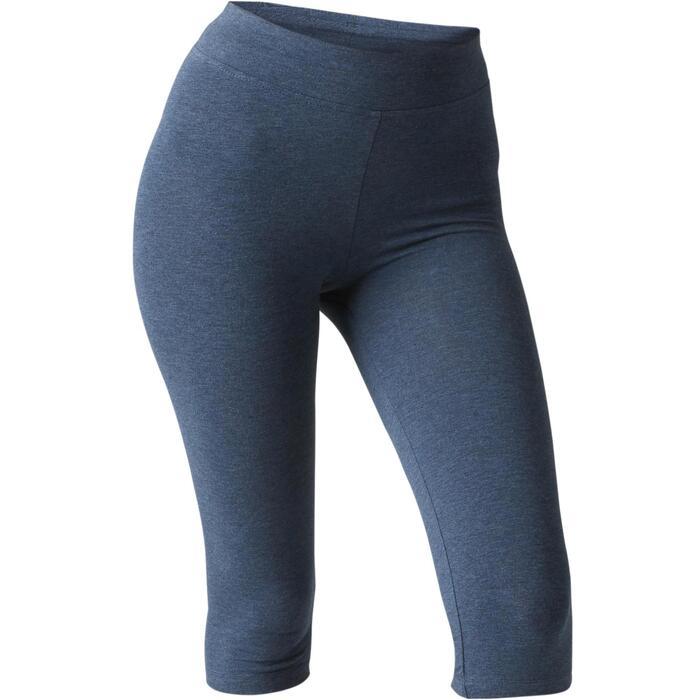 3/4-Hose Fit+ 500 Slim Gym & Pilates Damen blau meliert