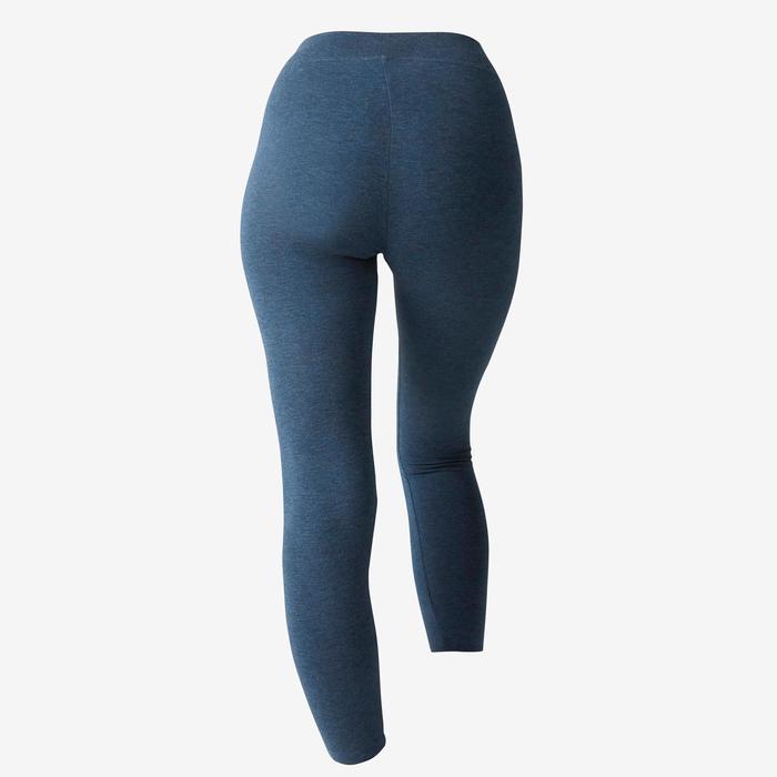 Legging 7/8 Fit+ 500 slim Pilates Gym douce femme bleu chiné
