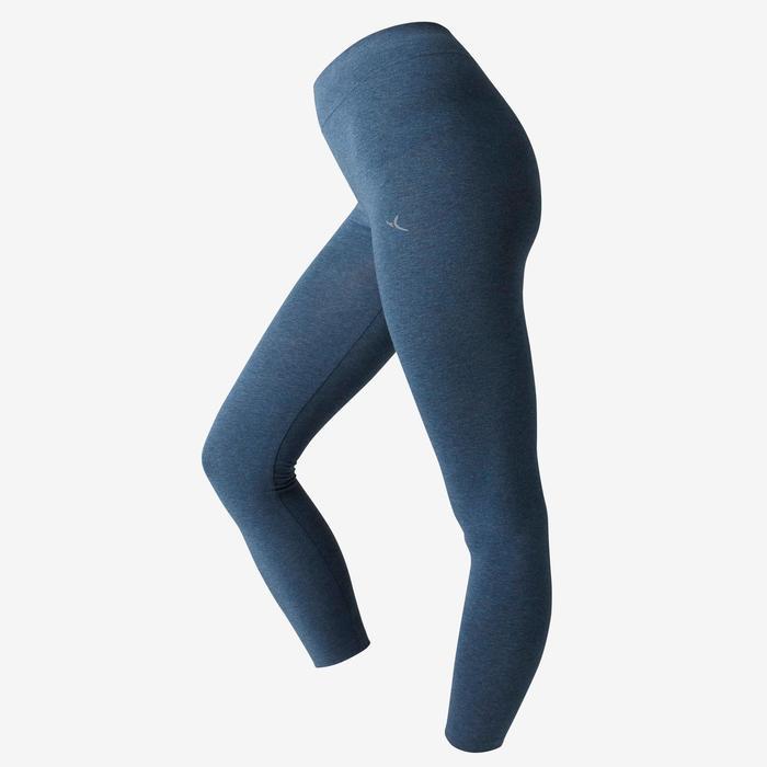 Mallas Piratas Leggings Deportivos Gimnasia Pilates Domyos FIT +500 Mujer Azul