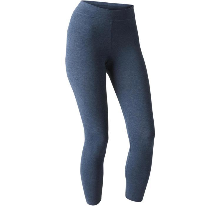 7/8-legging Fit+ 500 slim fit pilates en lichte gym dames gemêleerd blauw