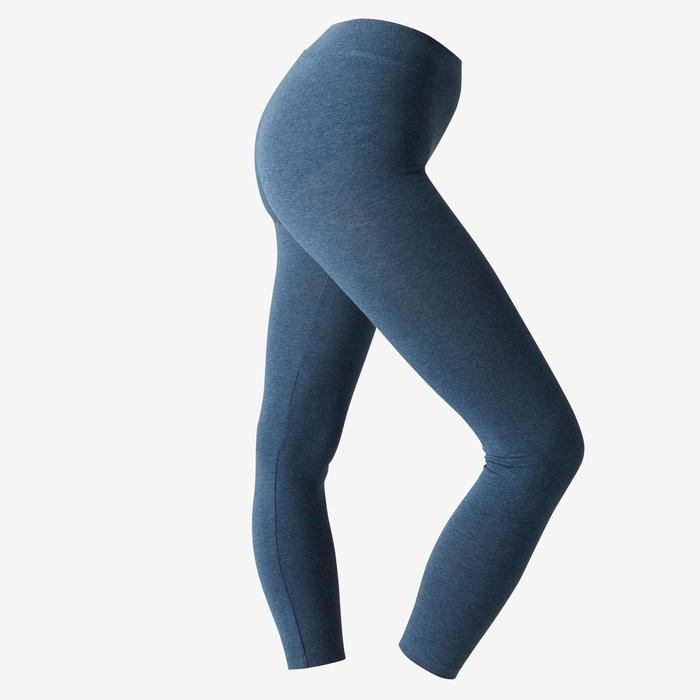 Leggings 7/8 Fit+ 500 Slim Pilates sanfte Gym Damen blau meliert