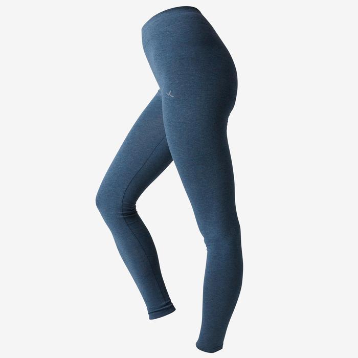 Legging Fit+ 500 slim fit pilates en lichte gym dames gemêleerd blauw