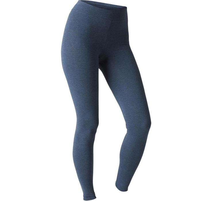 Leggings Fit+ 500 Slim Gym & Pilates Damen blau meliert