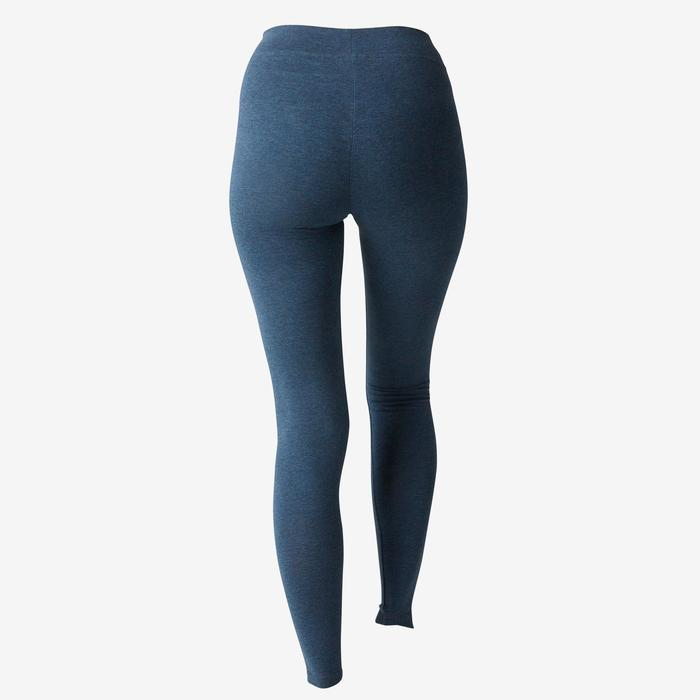Legging Fit+ 500 slim Pilates Gym douce femme bleu chiné