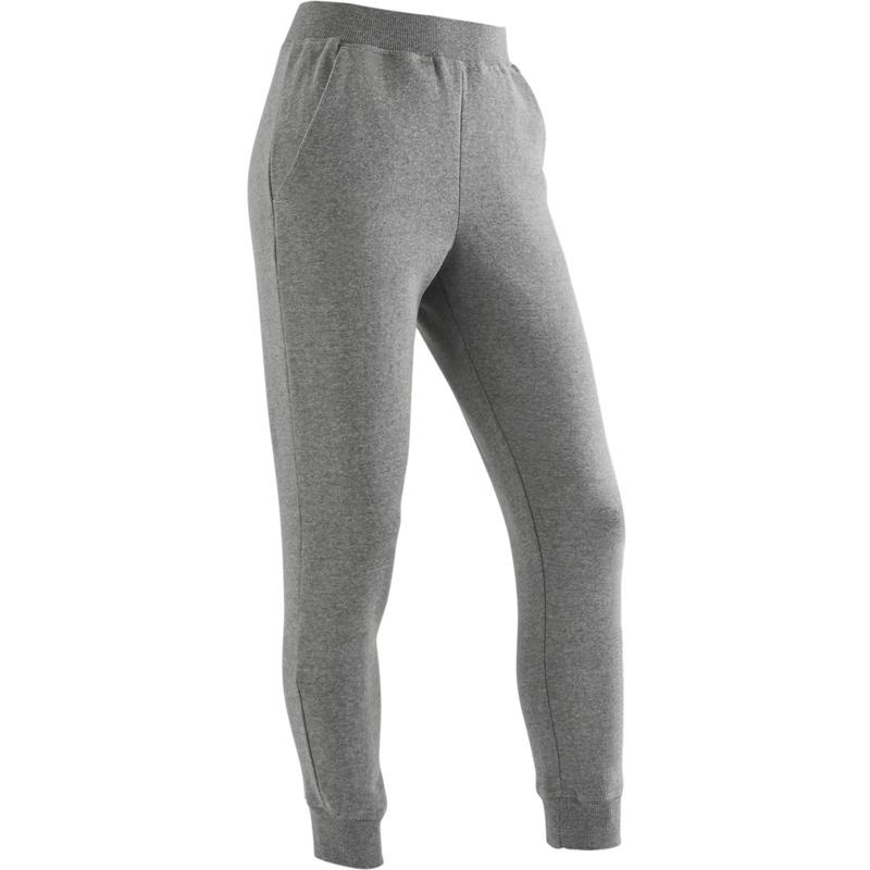 Pantalon de jogging chaud, molleton 100 fille GYM ENFANT gris clair imprimé