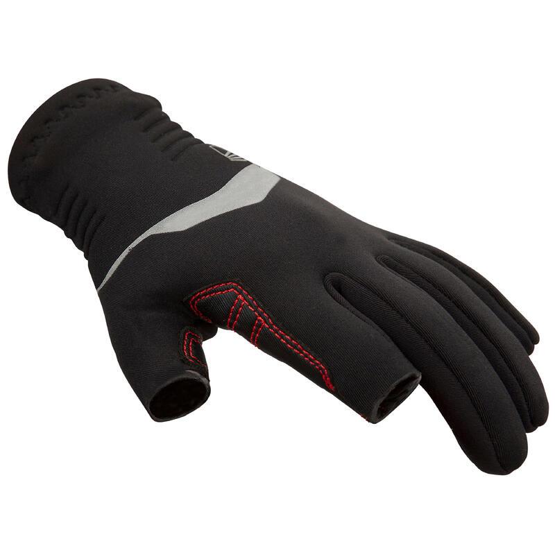 Kids Sailing 500 1mm Neoprene 2-Finger Gloves - Black