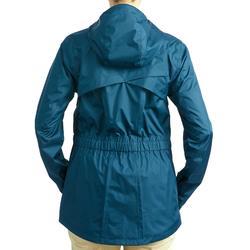 Regenjas voor wandelen in de natuur NH500 turquoise dames