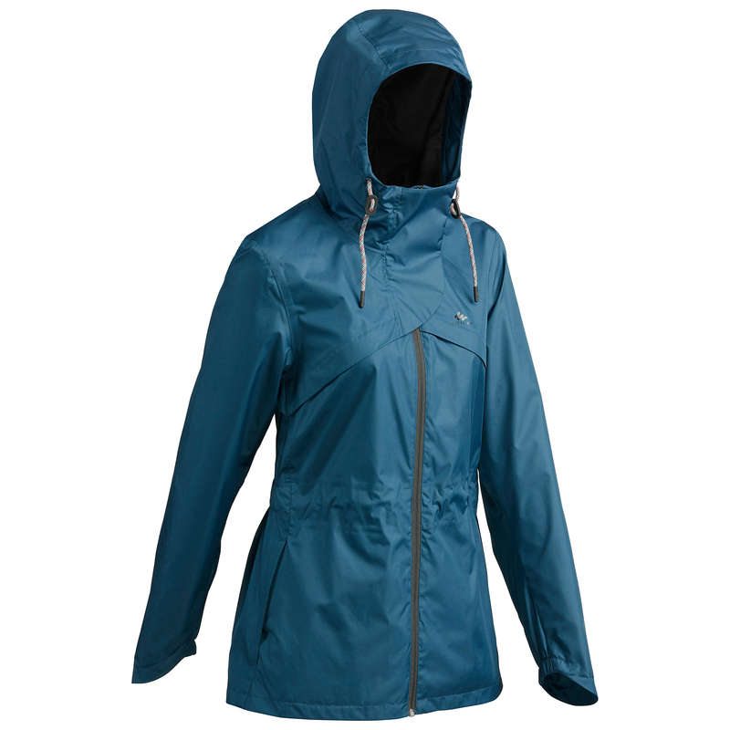 WOMEN NATURE HIKING JACKETS ALL WEATHER Hiking - Jacket NH500 Waterproof - Blue QUECHUA - Hiking Jackets