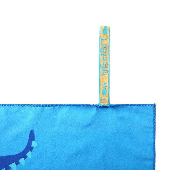 印花微纖維毛巾,L號 - 龍圖案/藍色