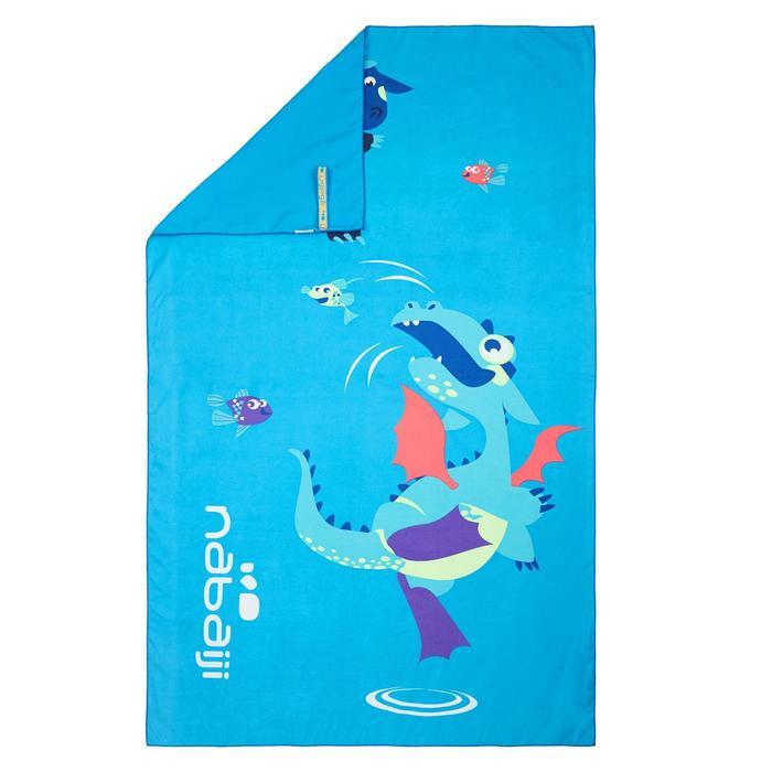 微纖維毛巾L號80 x 130 cm 藍色龍印花