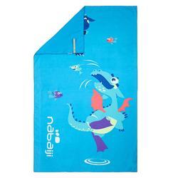 Printed Microfibre Towel, L - Dragon Blue